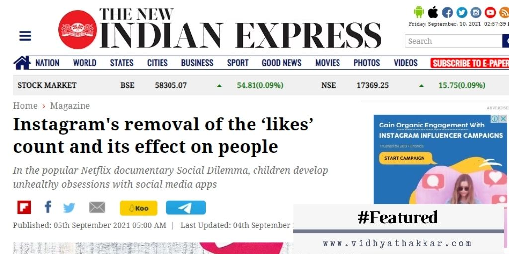Featured in New Indian Express – Instagram's removal of the 'likes' count and its effect on people.